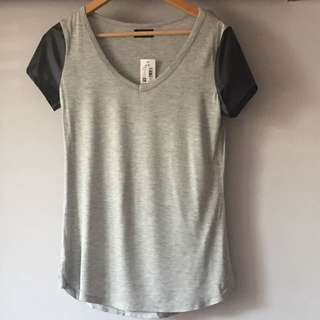 Dotti - Grey Tee with leather Sleeves - BNWT - RRP $30