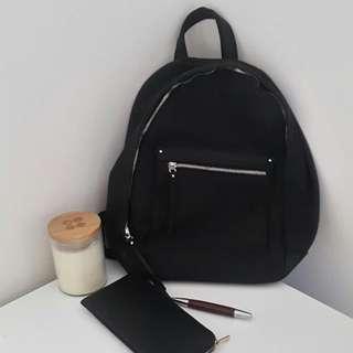 Mango Black Canvas Backpack