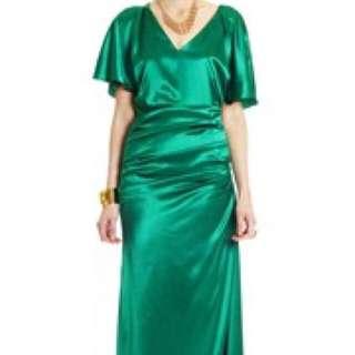 Lisa Ho Green Silk Evening Dress