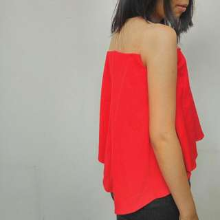Sheer Flare top Red