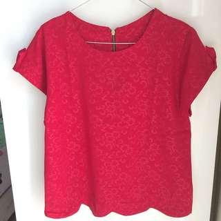 Red Scallop Hem Shirt