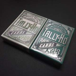 Set of Emerald Tally Ho Playing Cards