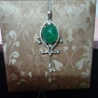 🚚 祖母綠鑽石項鍊