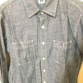 UNIQLO鐵灰色長袖襯衫