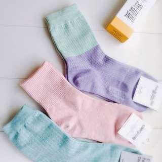 韓國帶回 中筒短襪 石英粉/湖水綠/薄荷藍莓