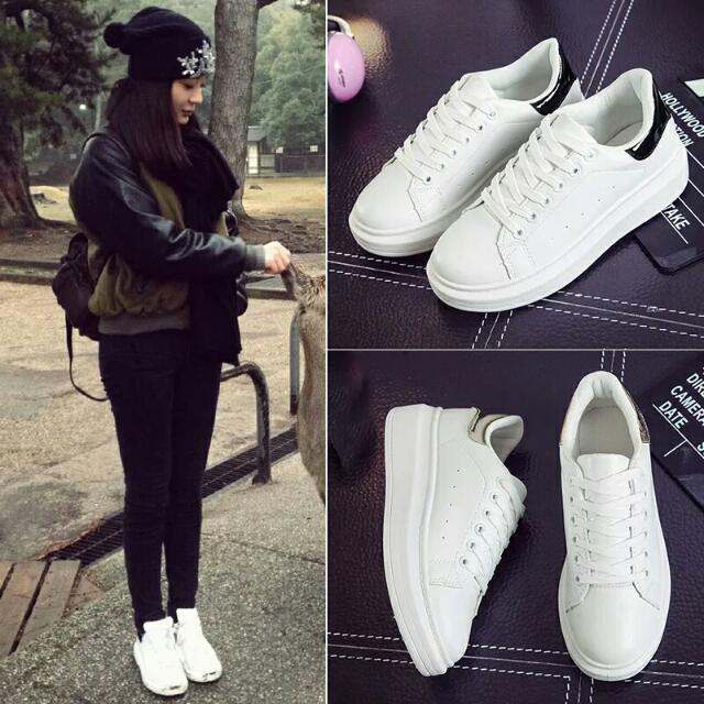 (預購)2016春夏季韓版休閒運動鞋 女板鞋厚底鬆糕學生球鞋單鞋小白鞋女
