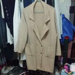 韓國購入 簡約款薄針織長外套