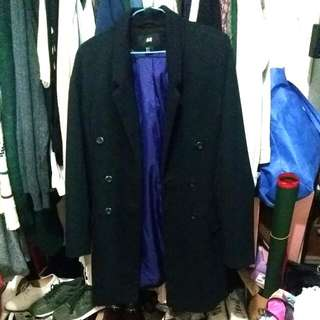 H&M 腰身長版厚棉西裝外套