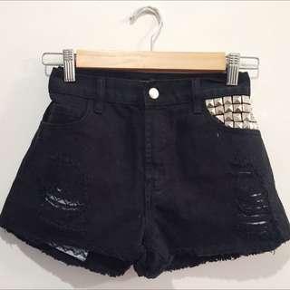 FOREVER 21 Ripped Black Denim Shorts