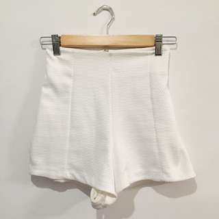 RIVER ISLAND white high waisted shorts