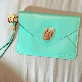 Tiffany綠狗頭信封拉鍊小包