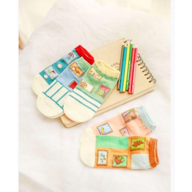 [買4送1]✨郵票系✨韓版女孩兒甜心糖果襪品 短襪 女襪 船襪 低筒襪 襪子 🎀