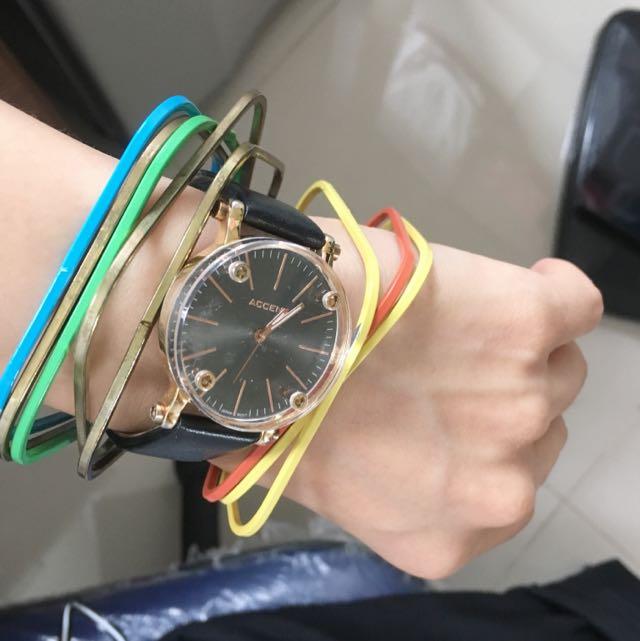韓版彩色方型鐵手環(8個一組)