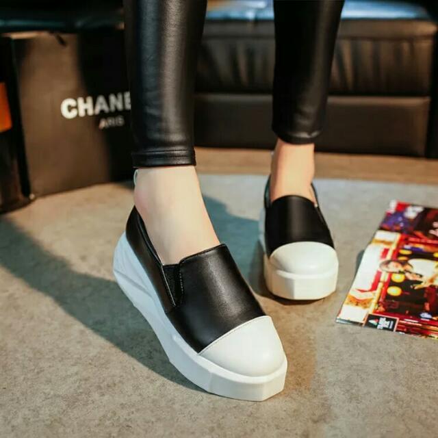 (預購)歐美街頭樂福鞋真皮拼接鬆糕底不規則幾何底懶人鞋新款學生厚底單鞋