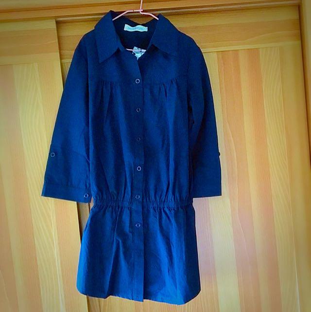 -=排釦收腰棉質長上衣-深藍👚