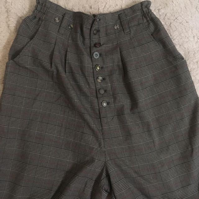 五分格紋縮口褲