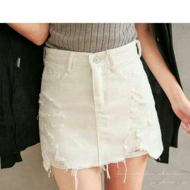 白 牛仔短裙