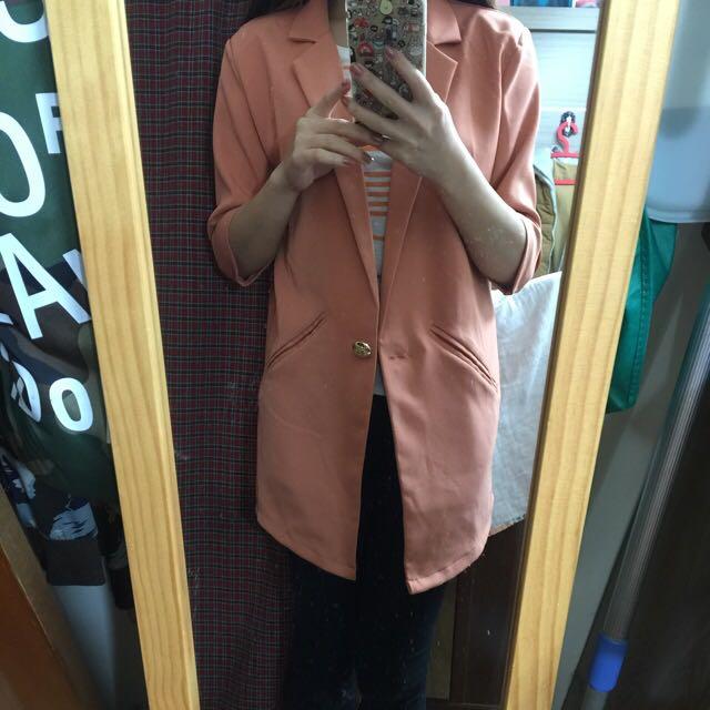 長版 西裝外套 粉橘色