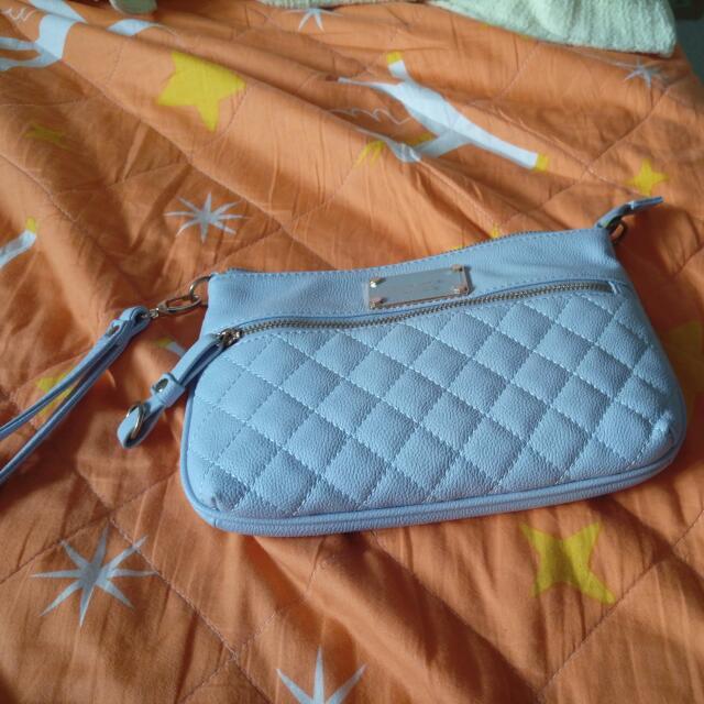 水藍 菱格紋手拿包 側背包