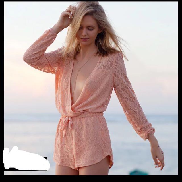 蕾絲 粉橘 連身褲