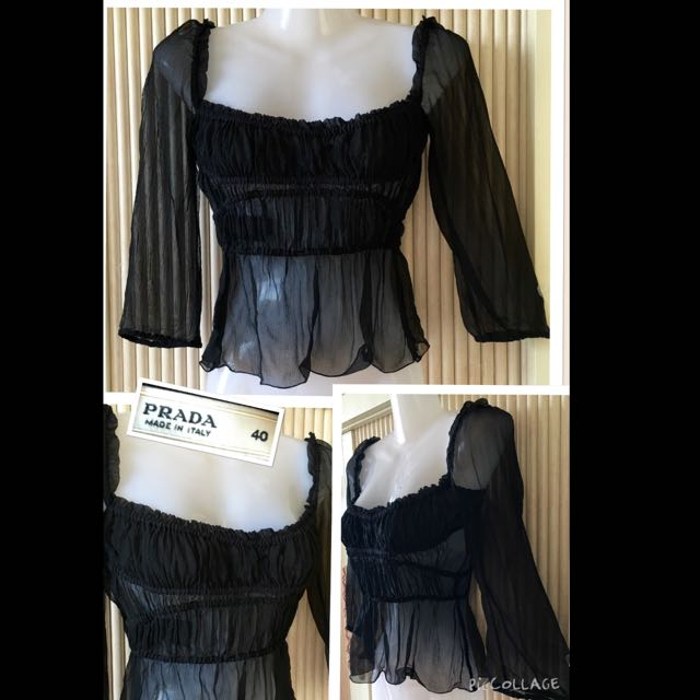 a6b31ea572e822 Reserved-Authentic Prada Elastic Share-neck Ruched-cut 3 4 Sleeves ...