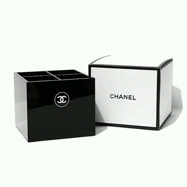 香奈兒chanel專櫃贈品化妝品收納盒 四格桌面置物盒