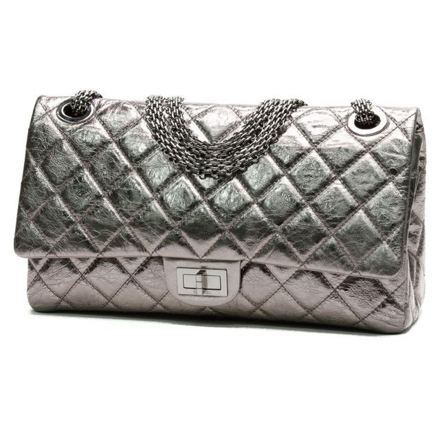 0c096249ca5a0d Chanel Dark Silver Metallic 2.55 Reissue Quilted Classic Calfskin ...