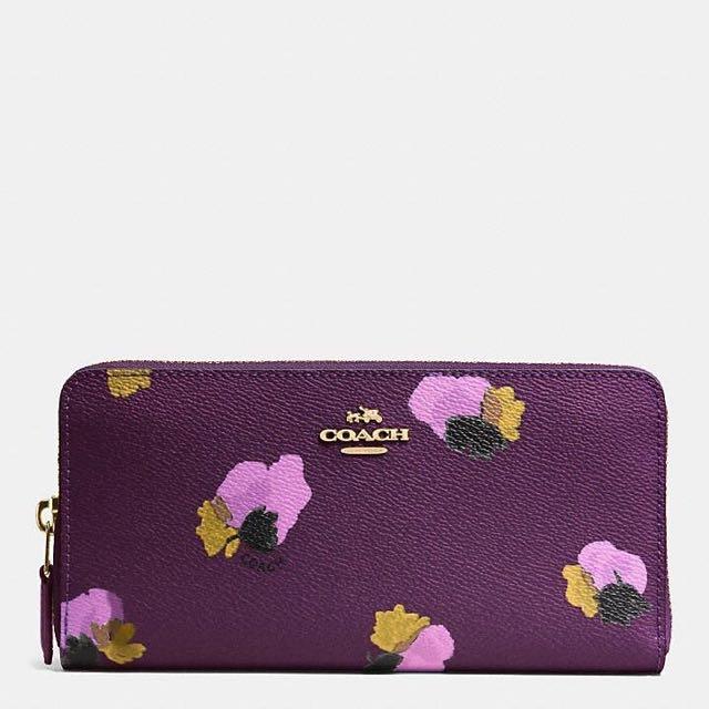 Coach 專櫃款~紫色花朵耐刮真皮長夾