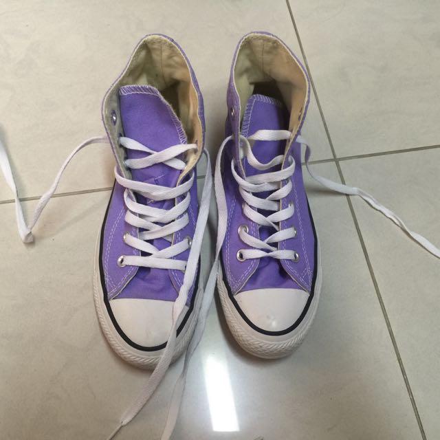 Converse 紫色高筒帆布鞋 23.5