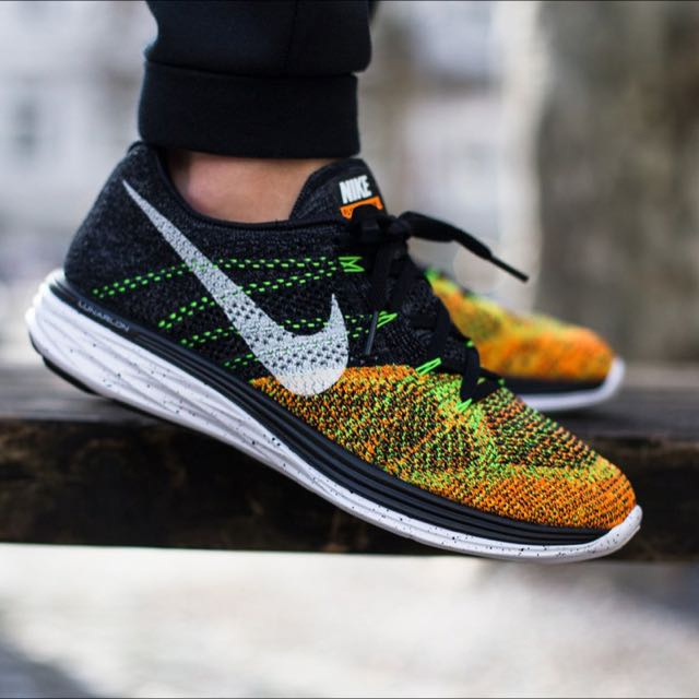 Flyknit Lunar 3 US 9.5 - Green, Orange, Black