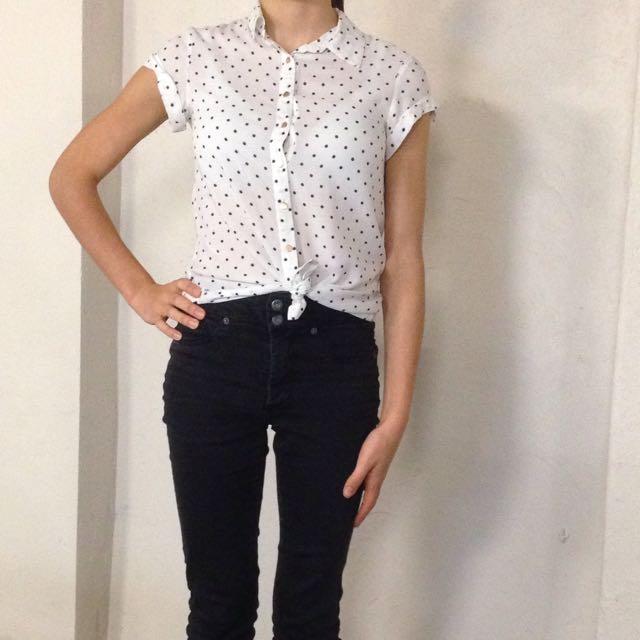 Forever New Black/White Shirt Size 6