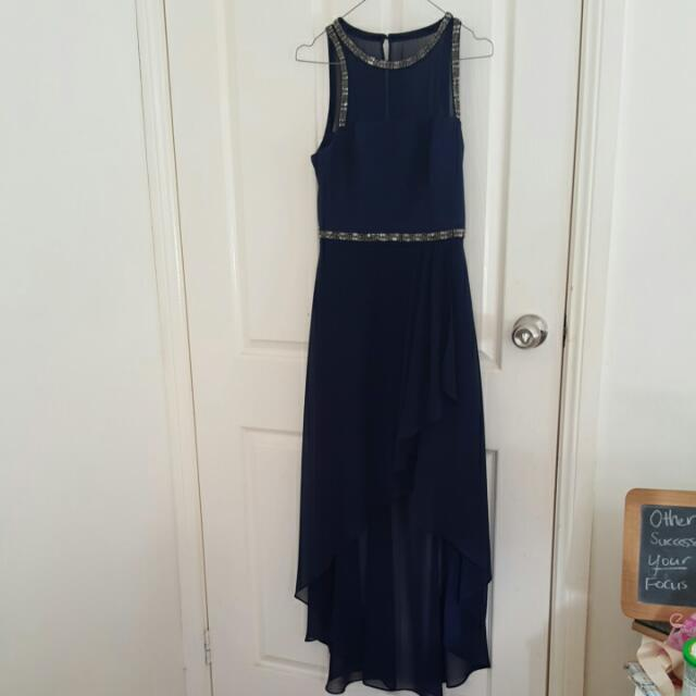 Forever New High Low Dress Navy Blue With Sequencing