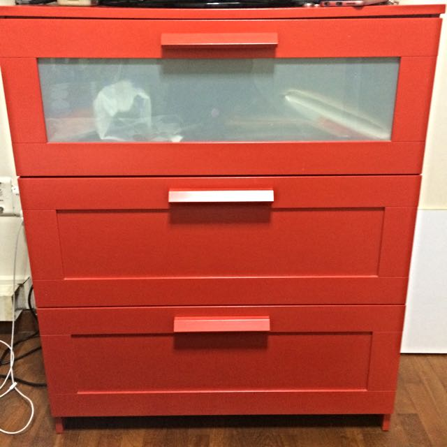 (Reserved) Ikea Red 3-tier Drawer