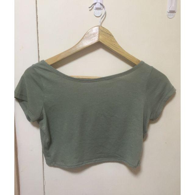 Khaki Low Back Crop Top