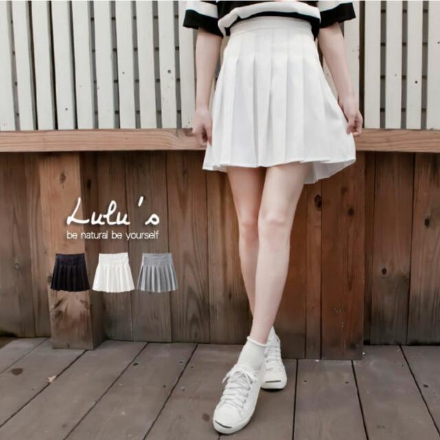 lulus 百褶裙 短裙 白