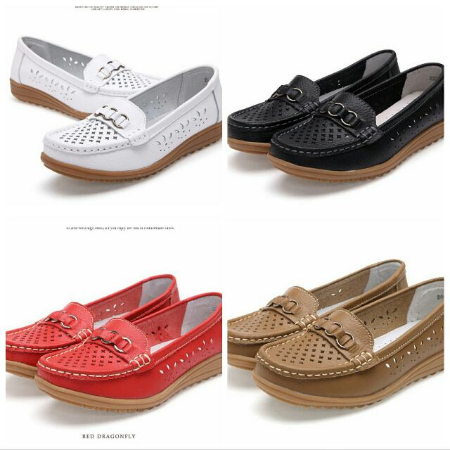 5f12686ff1771f Plus size 11 12 women shoes genuine leather cut out flat black white nurse shoes  woman breathable slip-on loafers shoes