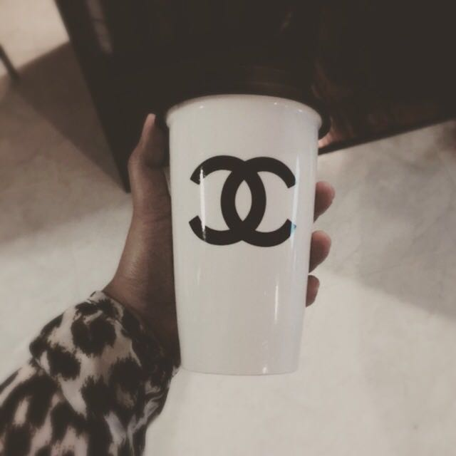 afb78566c60 Porcelain Coffee Mug with Silicon Lid (Chanel Inspired), Luxury on ...