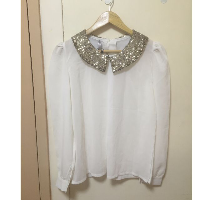 Sheer Top with Sequin Collar