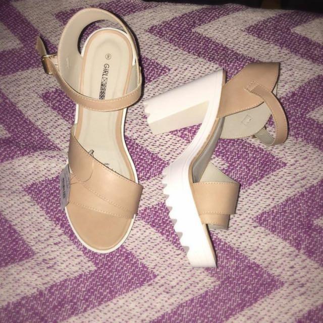 Tan/white Heels