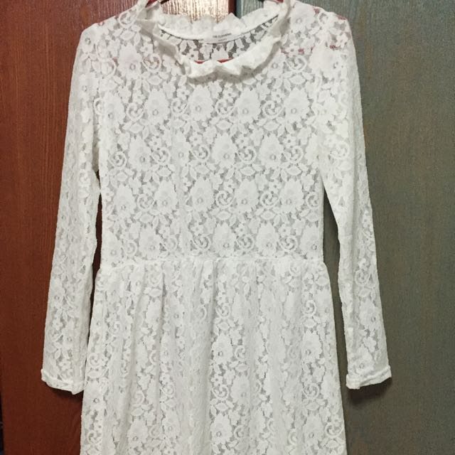 White Cotton Lace Dress (free size)