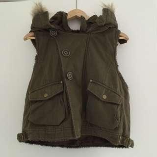 Hooded Vest With Fur Trim