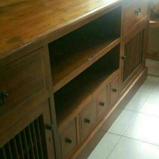 [Reserved Til Sunday] A Solid Teak Tv Console With Option To Purchase Teak Chairs
