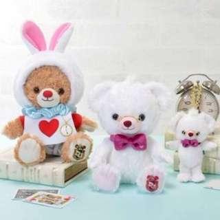現貨 大學熊Unibearsity四月時間兔牛奶吊飾、SS號玩偶、衣服