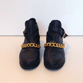 Black Leather Ankle with Gold Chain and Buckle
