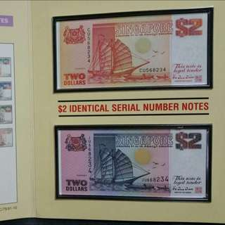 $2 Ship Identical Serial Number Note .....