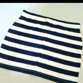 Asos棉質黑白條紋貼身短裙
