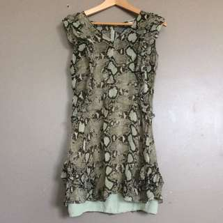 Crocodile pattern frill dress