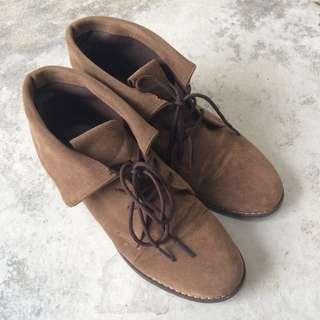 正韓 麂皮反折精靈鞋