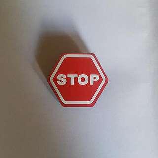 STOP Hazard Sign Emoji Pin Badge