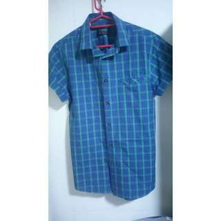 TOPMAN Short Sleeve Green Blue Checkered Shirt